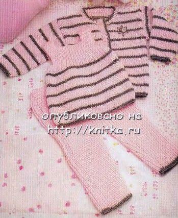 Модное трио: безрукавка, жакет и штанишки. Вязание спицами.