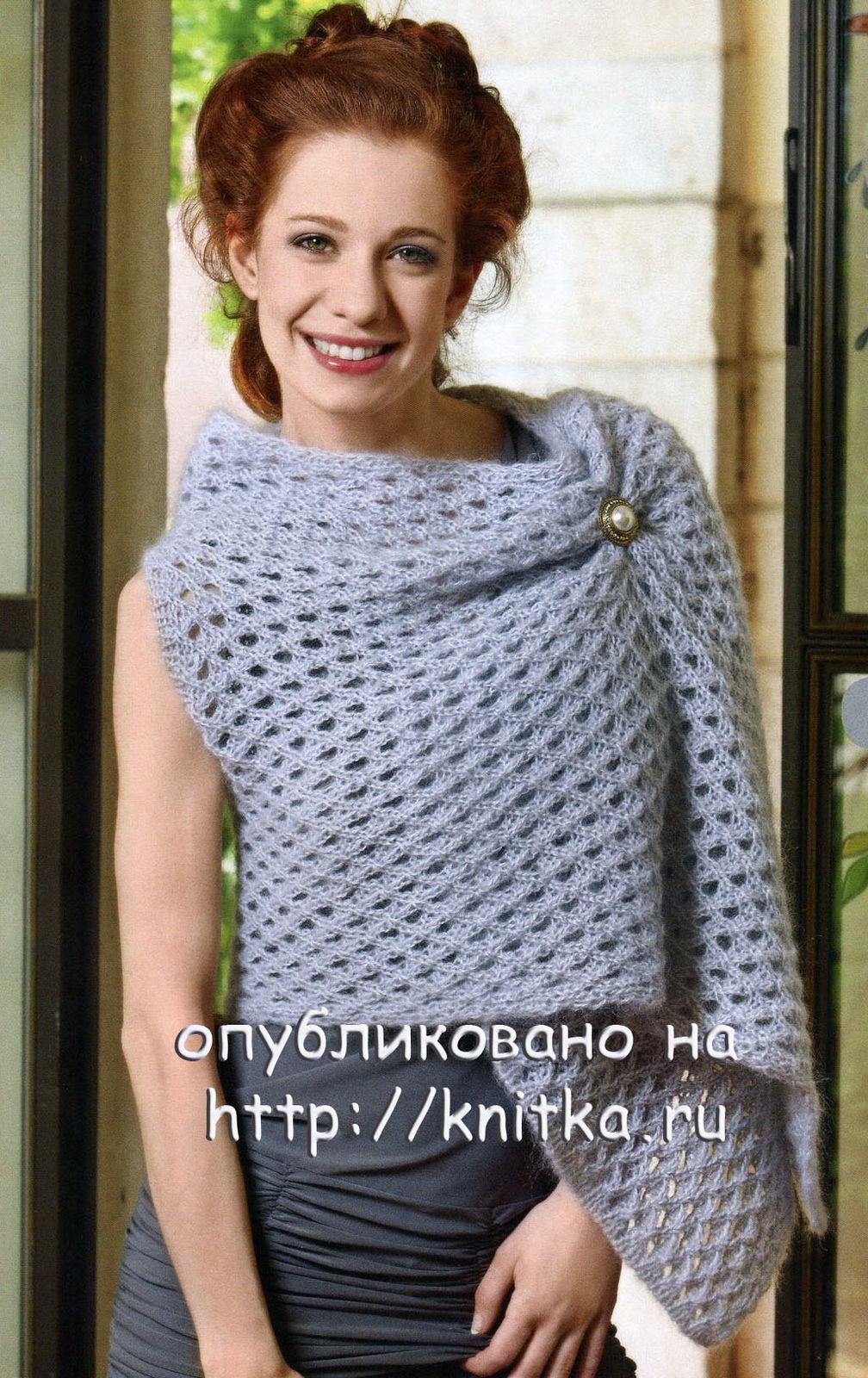 АЖУРНАЯ НАКИДКА, вязание спицами.  Для юных модниц: ажурный пуловер...