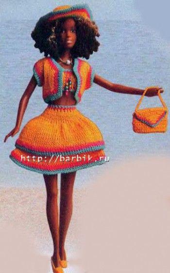 Показать схемы вязания платьев для барби.