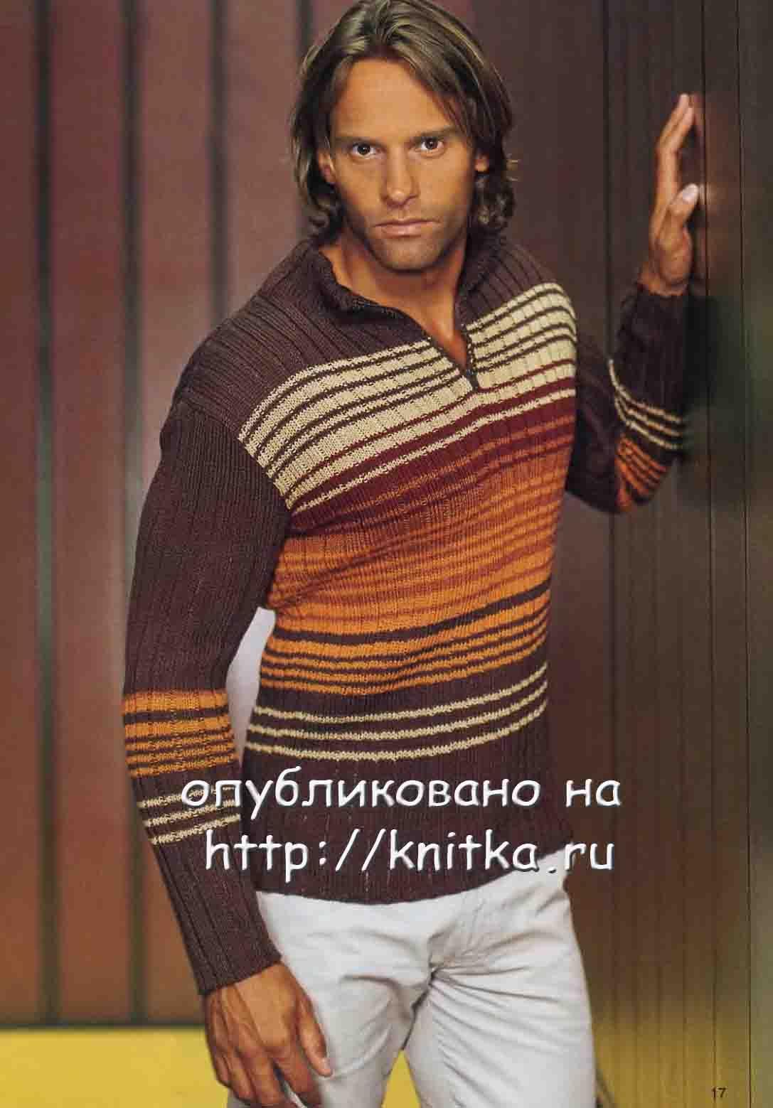 пуловер с застежкой поло в коричневых тонах вязание для мужчин