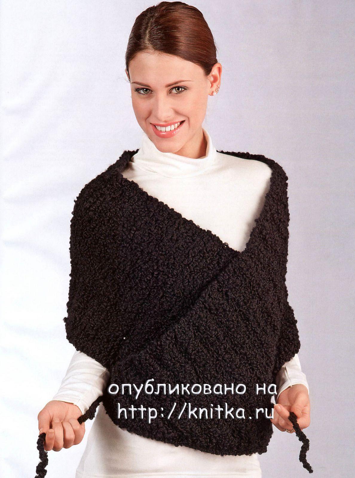 Читать схему для вязания ажурного платка спицами надо справа.  Язык: немецкий.  Описание: Вкайма спицами схемы.