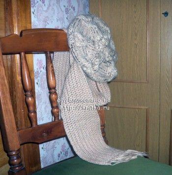 Берет и шарф. Вязание спицами.
