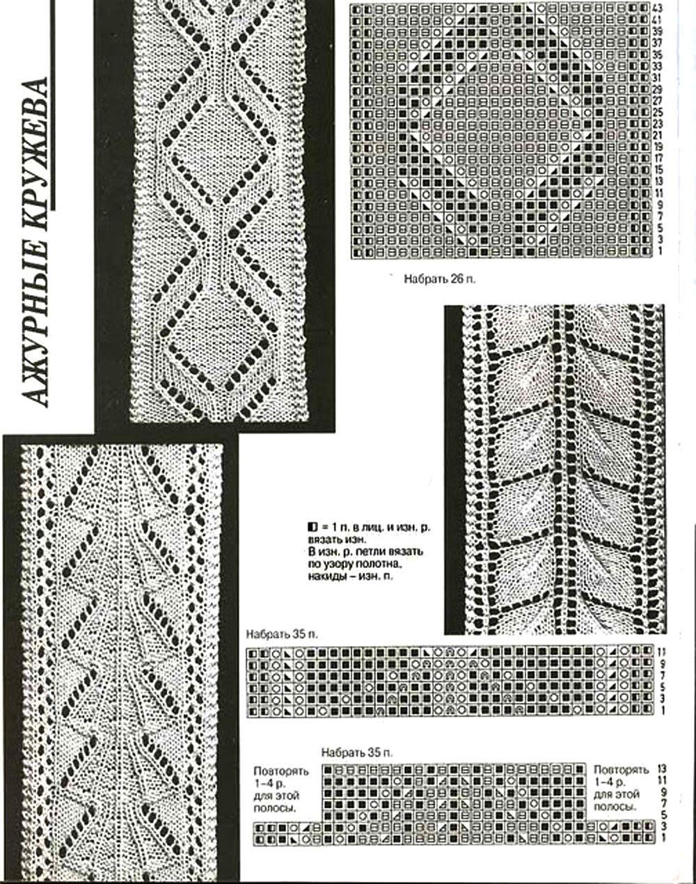 схемы вязания узоров спицами.