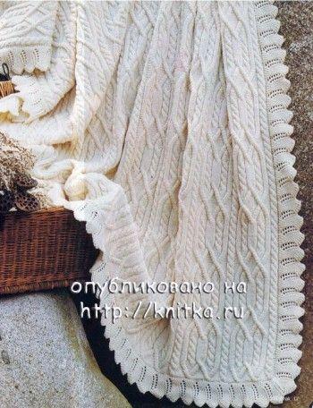 Покрывало из овечьей шерсти связанное спицами