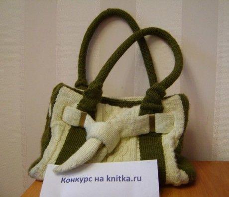 сумка с аранами, связанная спицами