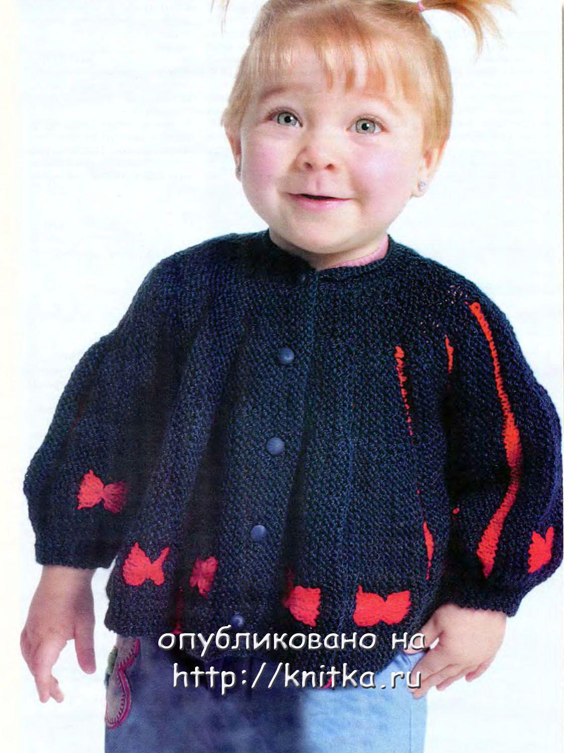 Для вязания кофточки вам потребуется: 250г пряжи (100% акрил) темно-синего цвета, 80 г пряжи красного цвета и 5...