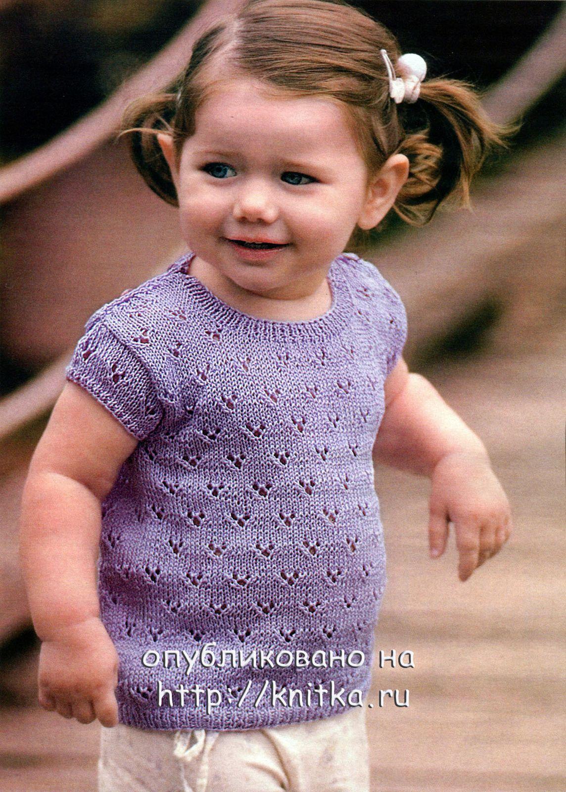 Вязанье летней кофточки для девочки 757