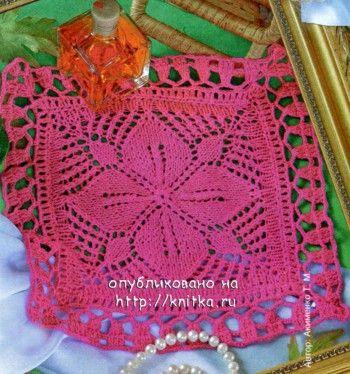 Розовая салфетка, связанная спицами