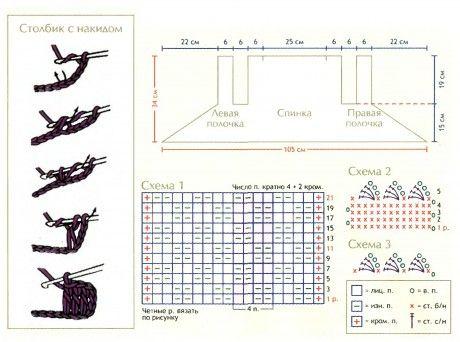 Спицы 4 и крючок 3,5. Фантазийный узор вязать по схеме 1.