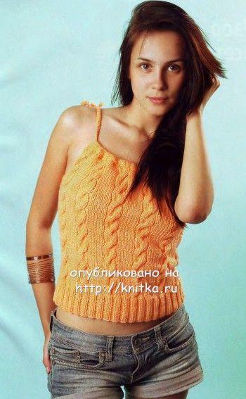 Оранжевый топ с косами вязание спицами