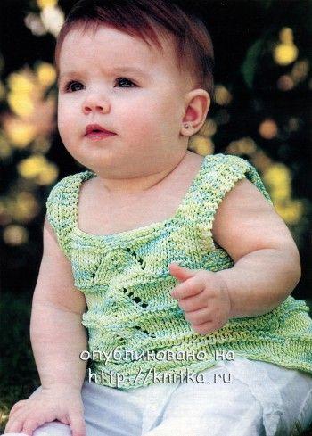 Салатовая кофточка для девочки. Вязание спицами.