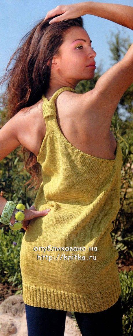 Желтая туника связанная спицами