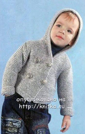 Жакет с капюшоном для мальчика. Вязание спицами.