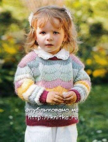 Джемпер цвета радуги связанный спицами. Вязание спицами.