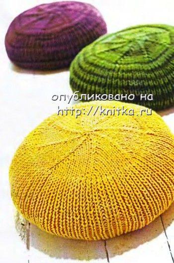Чехлы для круглых подушек вязаные спицами.  Размеры: 40 см в диаметре и высотой 6 см.
