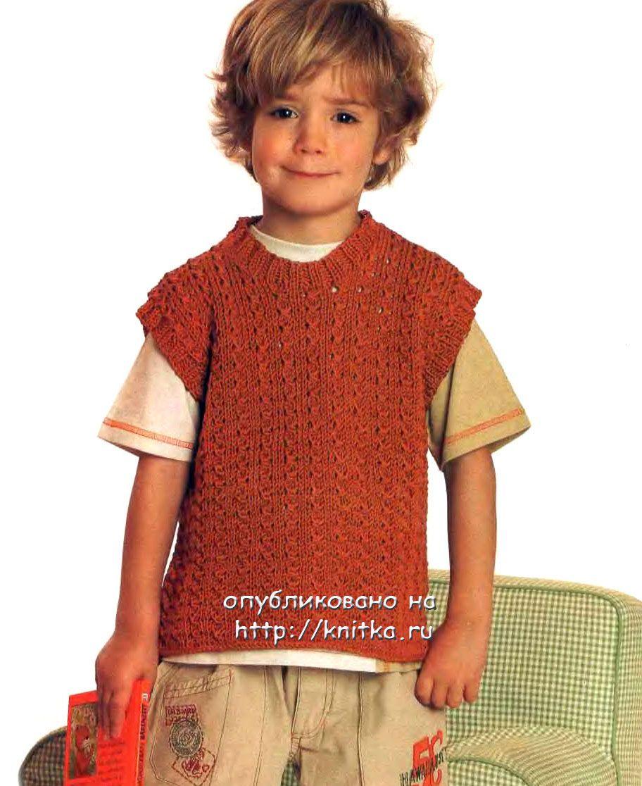 безрукавка для мальчика спицами вязание для детей