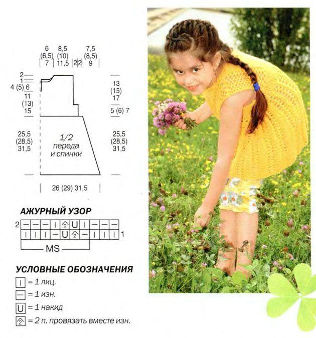 Вязание спицами для спицами платья для девочки семи лет