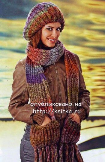 Двойной берет и шарф спицами. Вязание спицами.