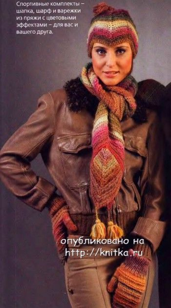Шапочка, шарф и варежки. Вязание спицами.