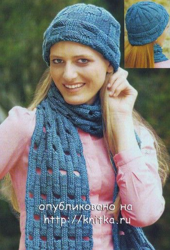 Голубой комплект: шапочка и шарф спицами. Вязание спицами.