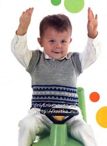 Жаккардовый жилет для мальчика. Вязание спицами.
