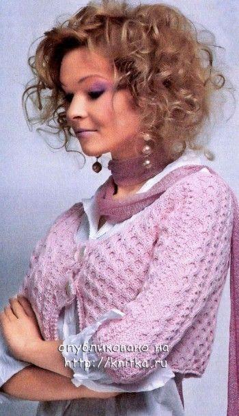 Розовое болеро. Вязание спицами.