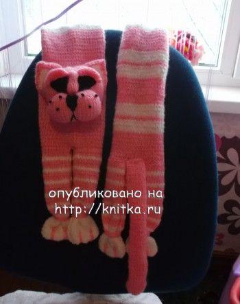 Котошарф и шарф Нюша. Вязание спицами.
