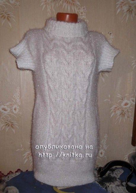 фото платья, связанного спицами