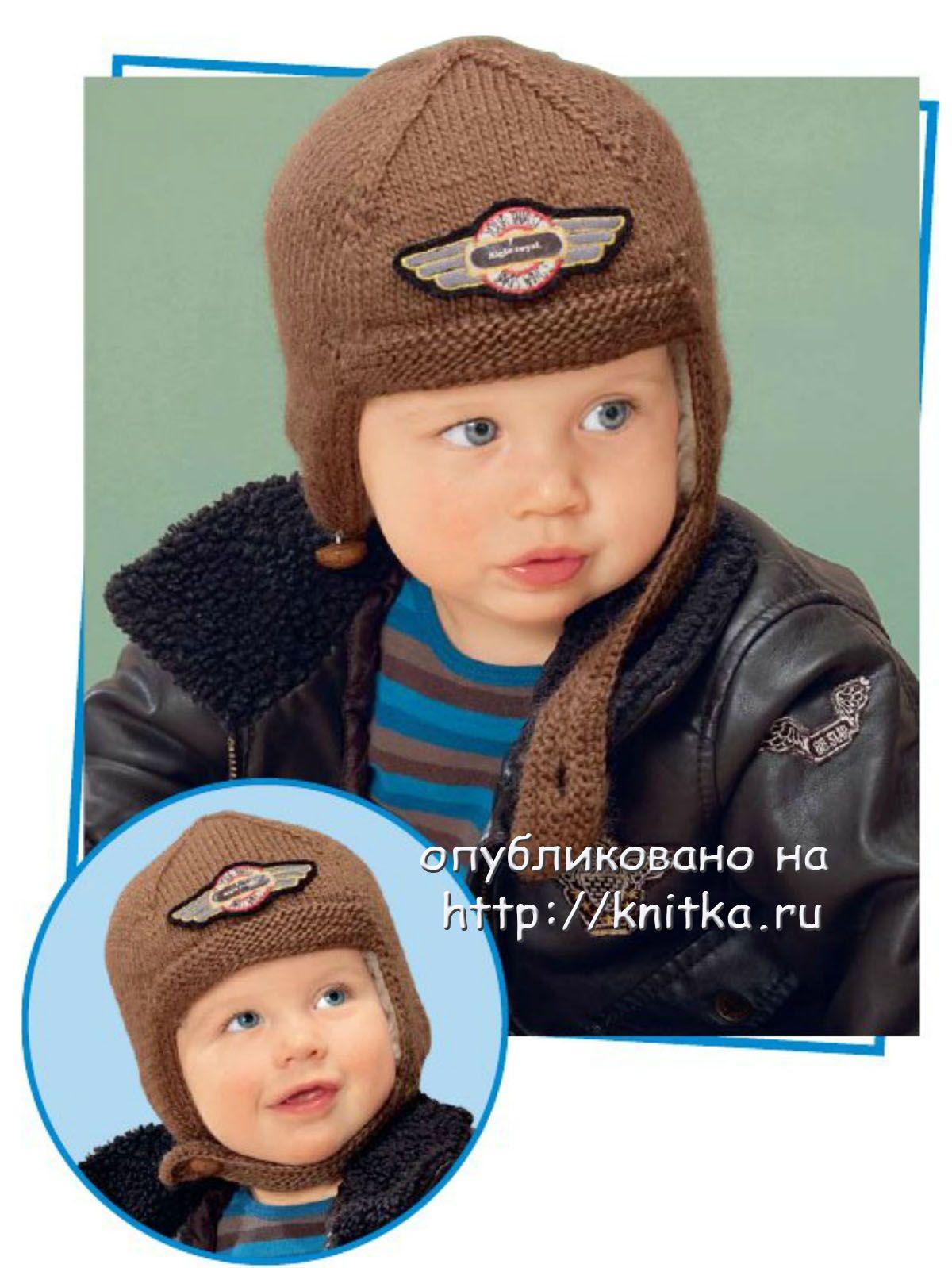 Теплая коричневая шапочка на подкладке для малыша (спицы) .