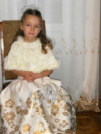 Вязаное болеро для девочки - зимний вариант. Вязание спицами.