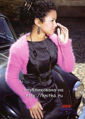 Вязаное болеро Розовый соблазн. Вязание спицами.