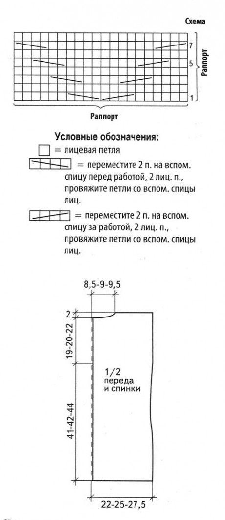 схема вязания и выкройка жилета