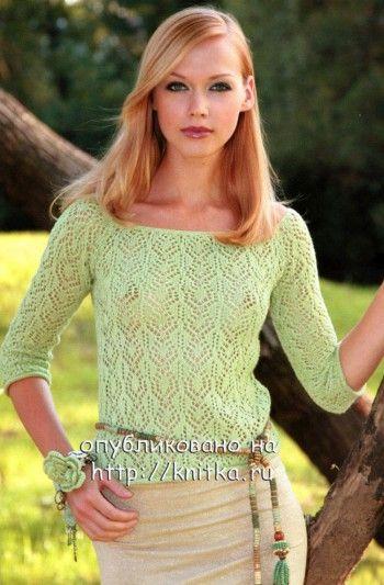 Зеленая ажурная кофточка. Вязание спицами.