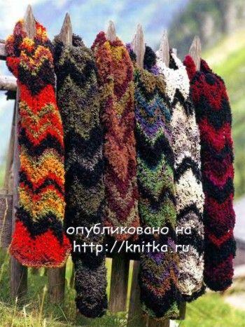 Цветные шарфы, связанные спицами. Вязание спицами.