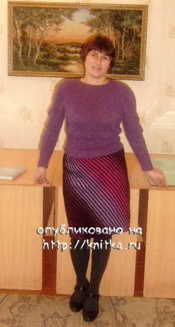 фото вязаной спицами юбки