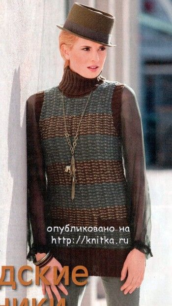 фото вязаной спицами безрукавки