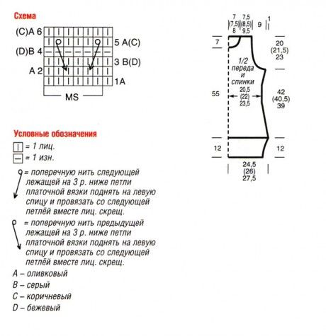 схема вязания и выкройка безрукавки