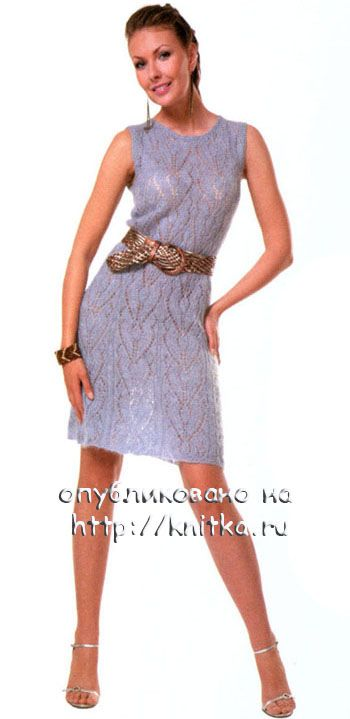 фото ажурного платья, связанного спицами