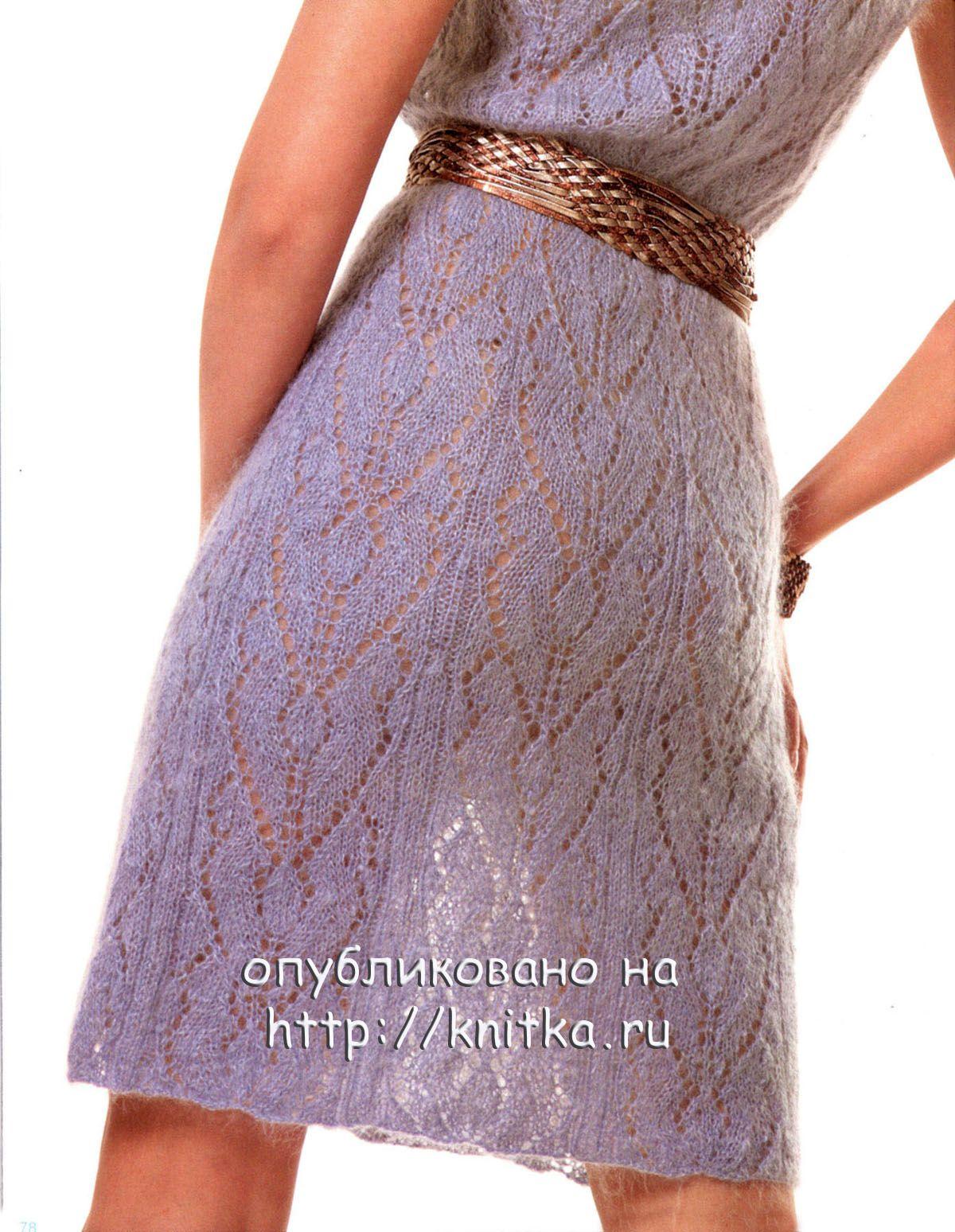 Вязание ажурных платьев спицами фото