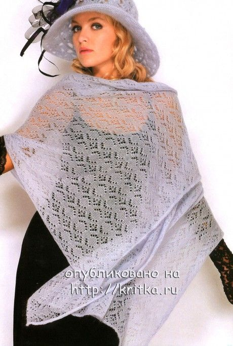 фото вязаного спицами палантина из мохера