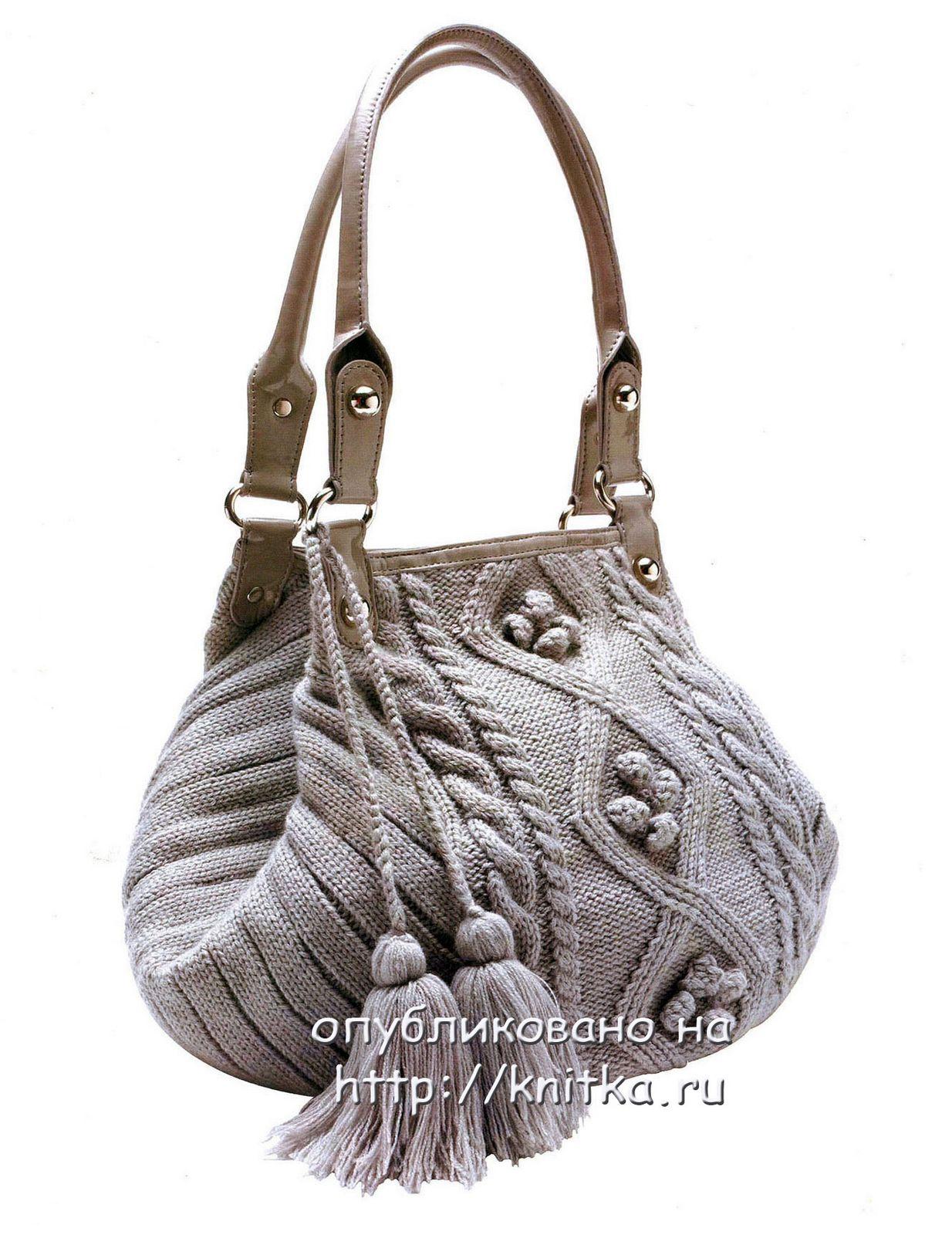 9b0279f6df3d Вязание сумки спицами. Выкройка сумки, схема вязания и описание ...