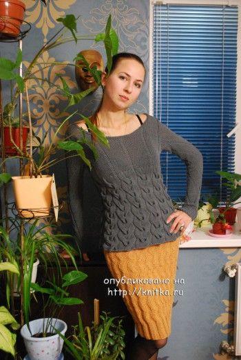фото вязаного спицами свитера и юбки