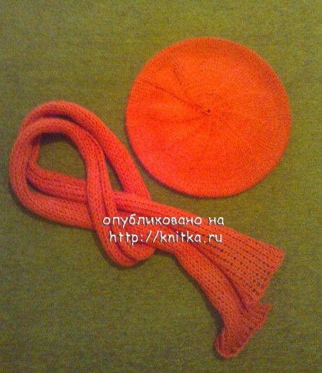 берет и шарф для девочки спицами