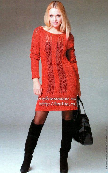 Вязаное платье спицами фото