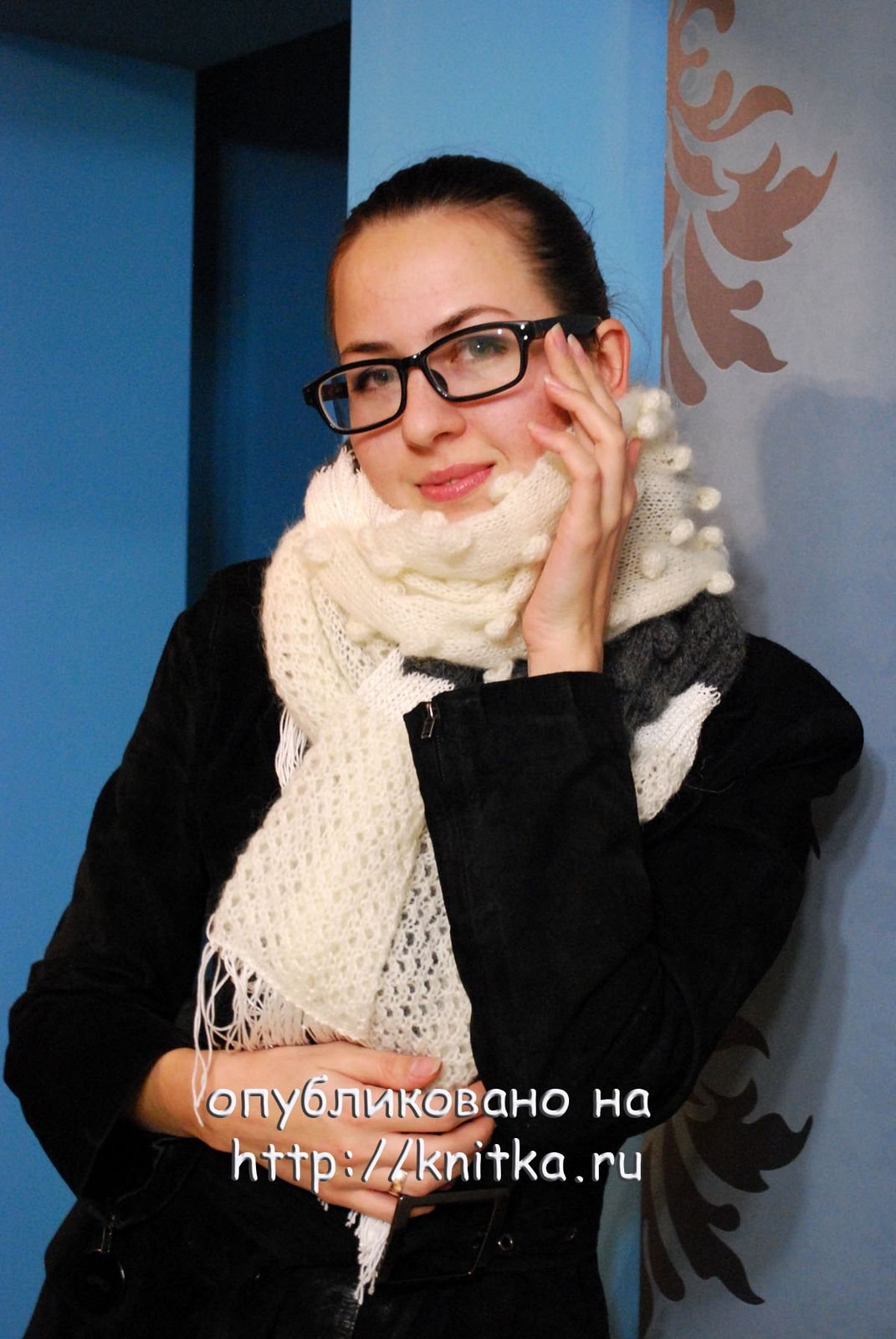 Вязание шарфа из мохера 11