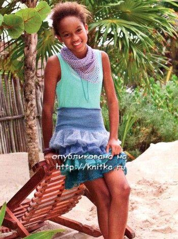 Вязаная спицами юбка для девочки с воланами. Вязание спицами.