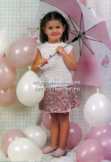 кофточка и юбка для девочки спицами фото