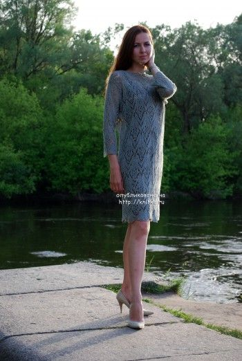 Вязаное ажурное платье - работа Аллы. Вязание спицами.