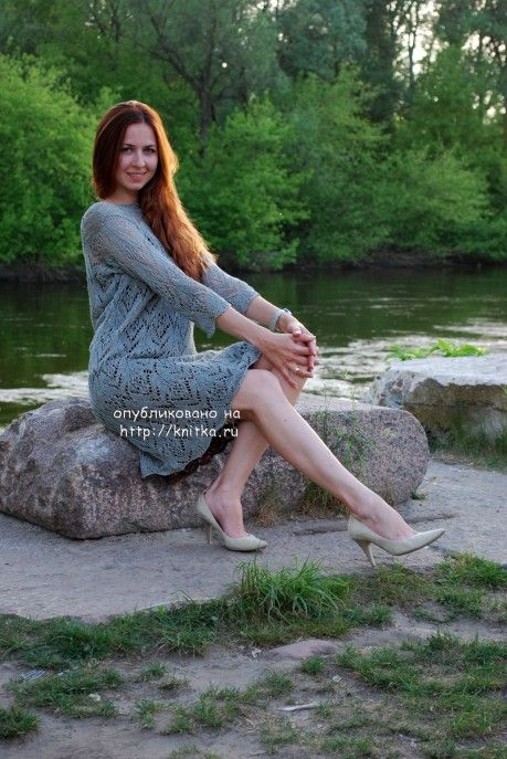 ажурное платье спицами фото