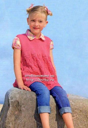 фото детской туники спицами